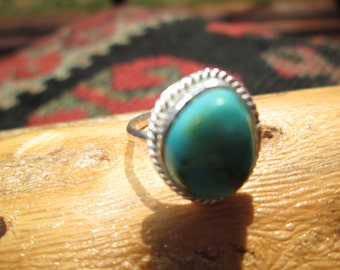 Turquoise and Sterling Silver Ring Size 4.5