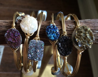 Bourbon and Bowtie Inspired Druzy Wire Wrapped Bangles