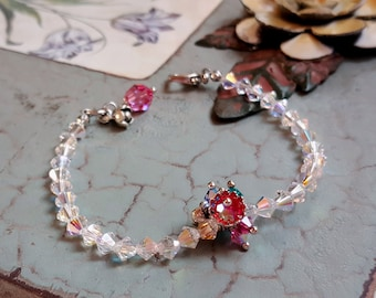 Swarovski crystals bracelet flower charms antiqued silver bracelet