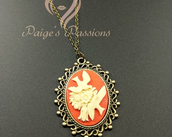 Doves and Floral Cameo Vintage Inspired Necklace