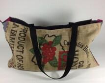 vegan bag, yoga bag, Large tote bag, burlap bag, handmade, beach tote, eco friendly bag, recycled bag, womens beach bag
