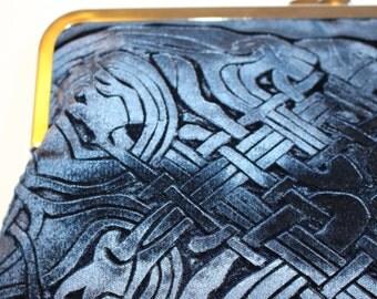Celtic hand printed design Kisslock Clutch Bag in a Blue Velvet