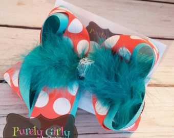 Turquoise and Neon Orange Polka Dot Hairbow Large Bow Summer