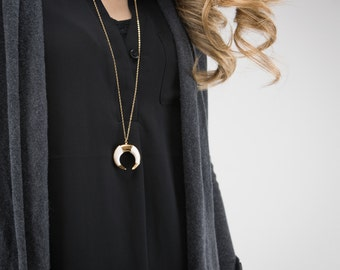 Crescent Bone Necklace | Double horn necklace, Tribal tusk necklace, Bohemian jewelry, Gold horn necklace, Festival jewelry