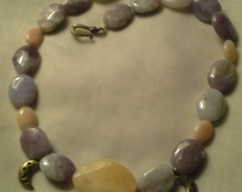 Natural Lavender Agate & Soapstone Necklace