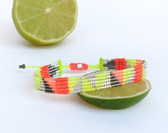 Graphic miyuki delica and macrame weaving bracelet - Neon yellow and coral orange - Triangle patterns - Handmade woven designer jewelry