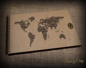 Personalised World Travel Album, Scrapbook, Journal, Diary, Australia, Europe, America, Family Holiday, Wedding/Honeymoon Gift Idea