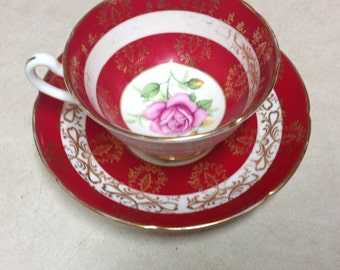 Royal Grafton  tea cup and saucer  crimson pink rose red and gold ,  antique tea cup