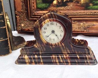 Vintage Bakelite Mantle Clock by The Lux Clock Mfg. Co., Art Deco, Tortoise, Art Nouveau