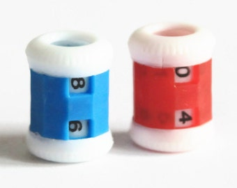 Row Counter Blue or Red - Hand knitting - Plastic Tally counter - Stitch Pattern Counter - On Needle Barrel - Knitting Tools - OC106