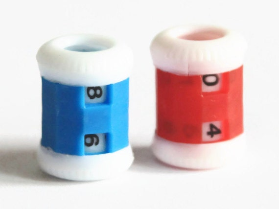 Knitting Counter Ring : Row counter blue or red hand knitting plastic tally