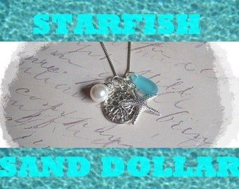 STARFISH and SAND DOLLAR Necklace - Starfish Necklace, Starfish Necklace Bride Beach Bridesmaid Necklace, Starfish Jewelry,  Beach  Necklace