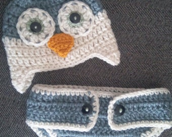 Owl hat and diaper cover set