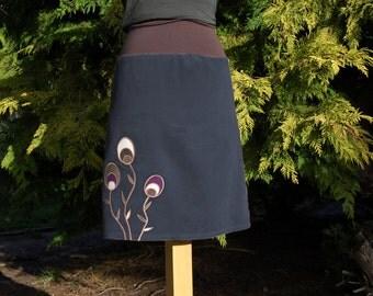 Cora knee-length dark grey corduroy skirt