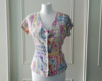 Classics at Debenhams 1980's vintage blouse vintage patterned blouse 80's vintage summer blouse 1980's short sleeved blouse size 10