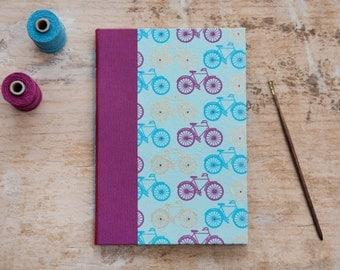 Hand Bound Journal / Notebook - Blue, Pink & Gold Bicycles / Bikes / Cycling - A5 - Long Stitch - Exposed Stitch Spine - Travel Journal