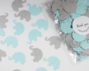 Elephant Baby Shower Confetti, Baby Blue & Gray Elephant Cutouts, Boy Birthday Party, Party Decoration, 200