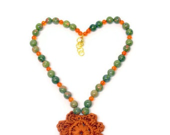 Crochet Beaded Necklace, Statement Necklace, Crochet Necklace, Orange Green Colored Choker Unakite Beaded Jewelry, Gift For Her