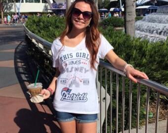 Patriots/Disney Ladies White V Neck T Shirt FREE SHIPPING