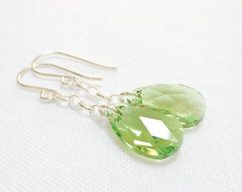 Peridot Teardrop Swarovski Crystal Earrings, Sterling Silver Long Chain Earrings, August Birthstone Jewelry, Birthday Gift for Her