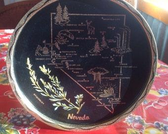 Vintage Nevada metal souvenir tray
