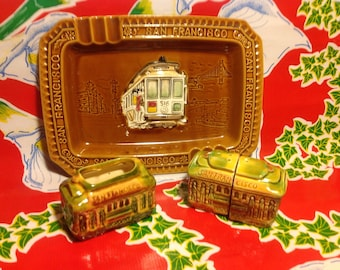 Vintage ceramic cable car San Francisco souvenir set- ashtray, salt and pepper, and toothpick holder