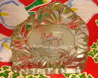 Vintage etched crystal reindeer standing plaque