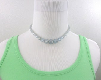 Moonglow Necklace 15 Inch Blue Gray Lucite Beaded Choker Shimmery Vintage Necklace Jewelry