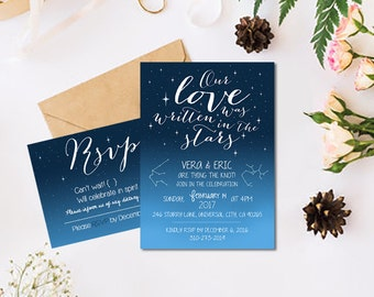 Universe Astrology Stars Constellation Galaxy Wedding Invitation + RSVP Card Printable Custom DIY Wedding Save the Date Wedding Invitation