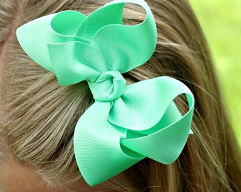 Large 4 inch Mint Hair Bow