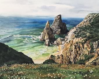 Hidden Beach - Original watercolor painting