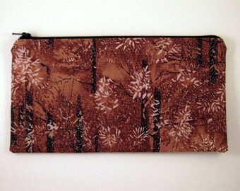 Brown Tree Pencil Case,Pencil Pouch,Gadget Bag, Zipper Pouch, Make Up Bag