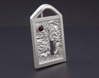 Sterling Silver Fairy Door Pin Brooch - One of a Kind Artisan Brooch with small Bezel Set Garnet Cabochon On Reticulated Silver Brooch