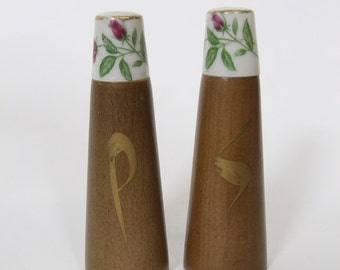 Vintage Mid Century Wood and Ceramic Salt and Pepper Shakers