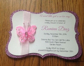Butterfly Garden Themed Baby Shower Invitation - Handmade Baby Shower Invitation - Butterfly Baby Shower Invitation - Garden Baby Shower
