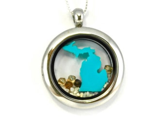 Michigan mitten and U.P locket surrounded by sand and swarovski crystals on a sterling silver chain