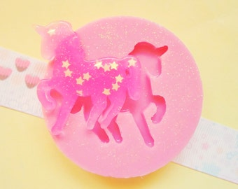 40mm Unicorn Horse Flexible Silicone Mold - Decoden Kawaii Sweets Resin Fimo Polymer Clay Sculpey Wax Soap Fondant Cabochon