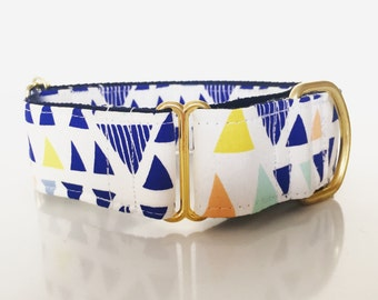 "Adjustable Martingale dog collar ""Blue triangles"""