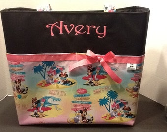 Personalized  extra large tote bag with lots of pockets made with Minnie Mouse fabric