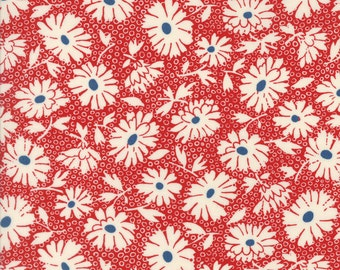 Retro Daisy Fabric, 1930s - Lazy Daisy by American Jane for Moda Fabrics - 21703 14 - Cherry Red - Priced by the half yard