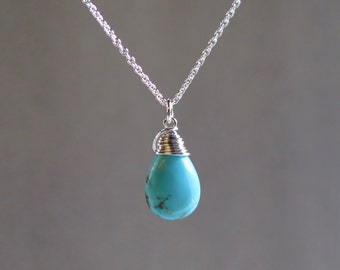 Turquoise Necklace - December Birthstone - Sterling Silver or Gold Filled