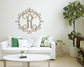 "Wooden Monogram Letters - Wood Monogram with border - Nursery Decor - Wedding decor - Wedding Guest Book - Wall Hanging Letters in 35"" size"