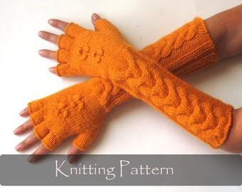 KNITTING PATTERN - Knit Mittens Pattern Cable Fingerless Gloves Pattern Hand Warmers Pattern Knit Arm Warmers Cable Gloves - P0010