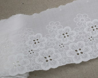 14Yds Broderie anglaise cotton lace trim Off-White 11.5cm SH34 laceking2013