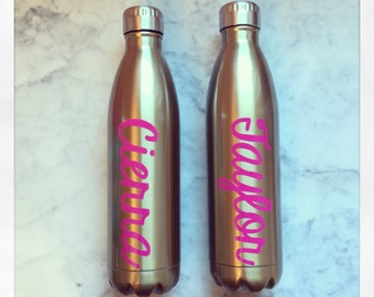 Personalized Gold Pearlized Stainless Steel Thermal Bottle {25oz}