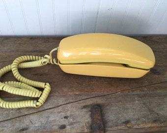Yellow Trimline Push Button Telephone Vintage Bell Systems Phone
