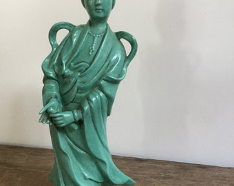 Green Kwan Yin Glazed Ceramic Figure Guan Yin Goddess of Mercy