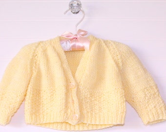 Vintage baby sweater, yellow knit with three buttons, size 0-3 months