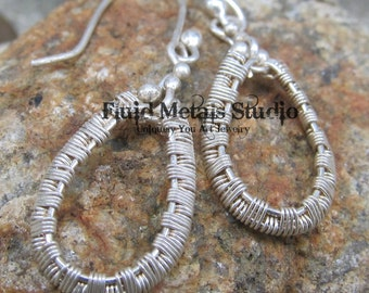Wire wrapped hoop dangles DE0025