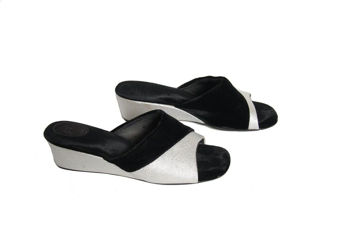 60s velvet boudoir house slippers space age velvet wedges Boys Bedroom Slippers Outdoor Slippers